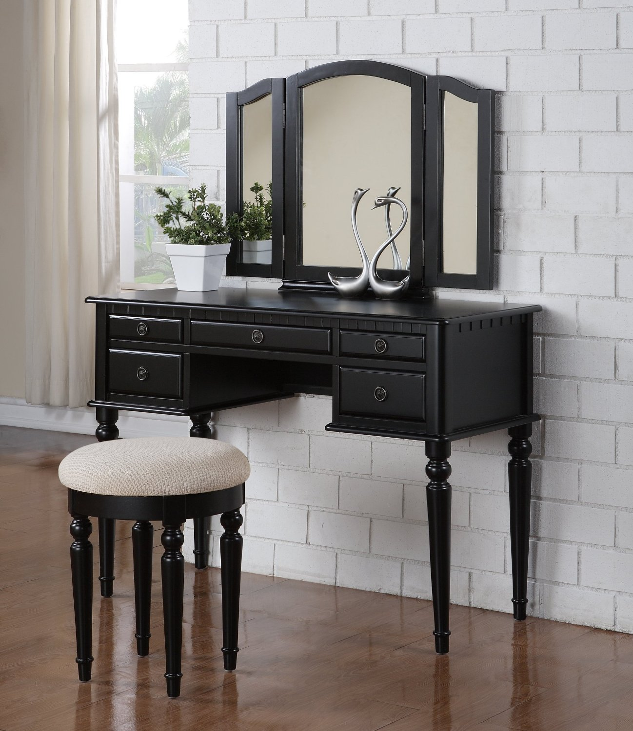 Review Bobkona F4072 St Croix Collection Vanity Set With Stool Black