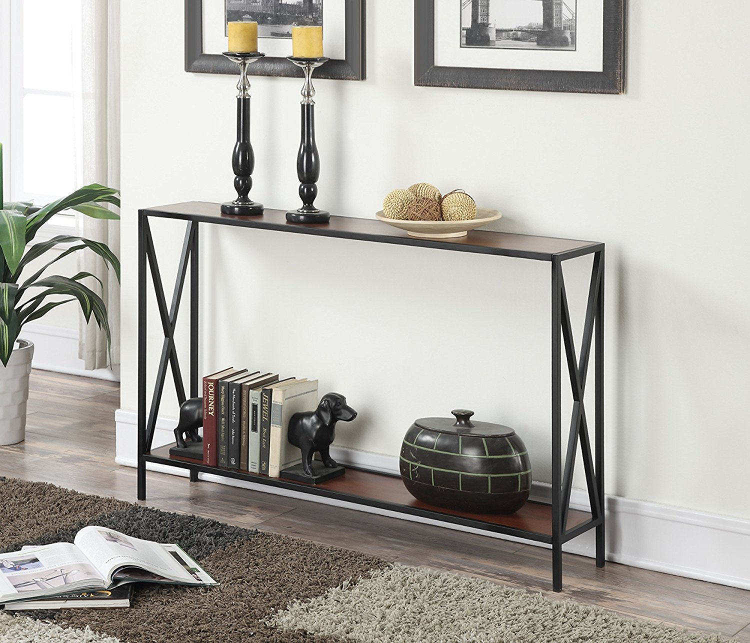 Reviewconvenience concepts tucson collection console table black cherry