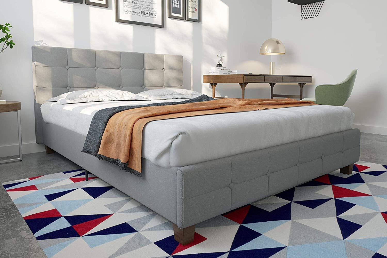 c3d03022970  Review  DHP Rose Linen Tufted Upholstered Platform Bed